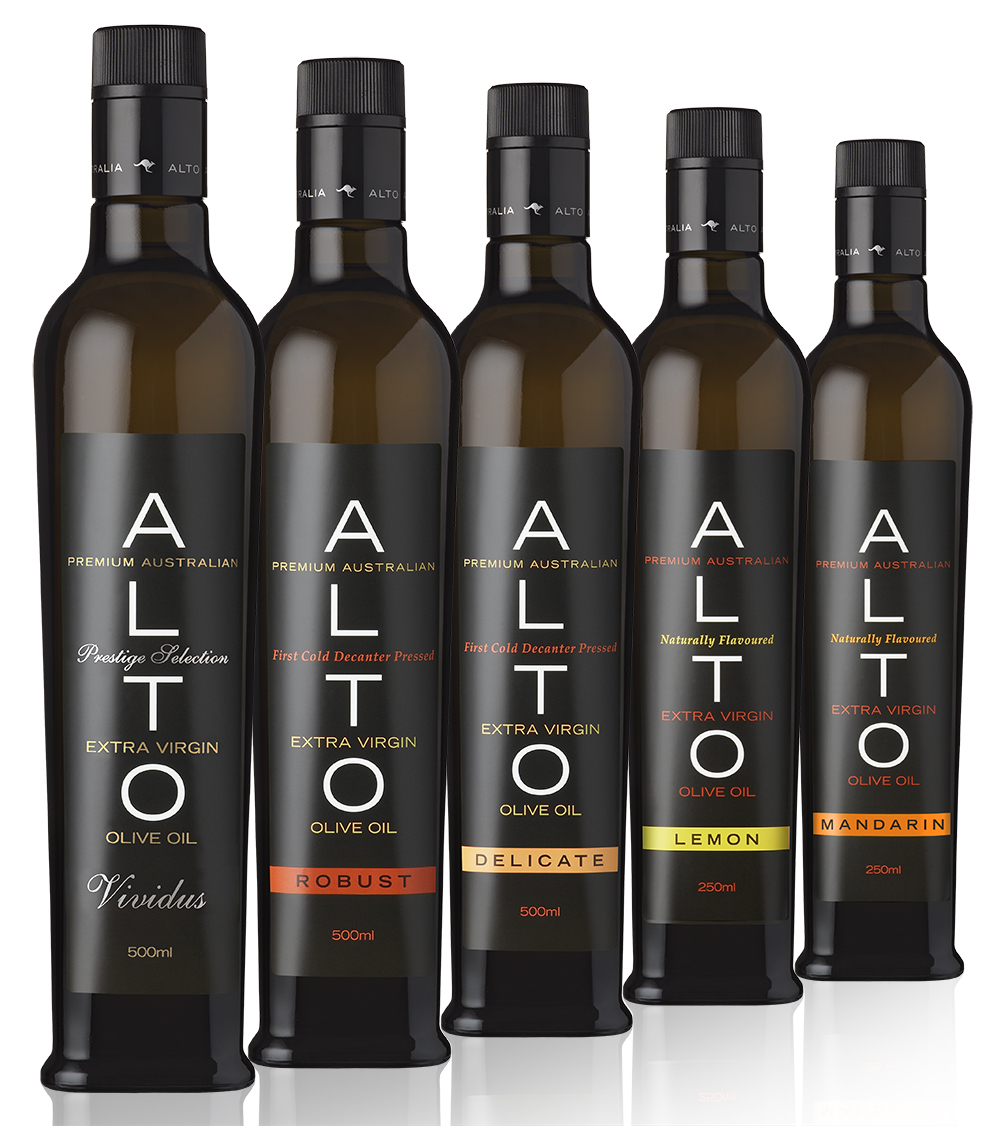 ALTO Olives produce a range of award winning Australian extra virgin olive oils. The name ALTO is derived from the Latin Alto meaning high and the groves are situated in the foothills of the Great Dividing Range in NSW. The simple branding with the A at the top alludes to the higher altitude of the groves, Australia and the top quality of the oils.