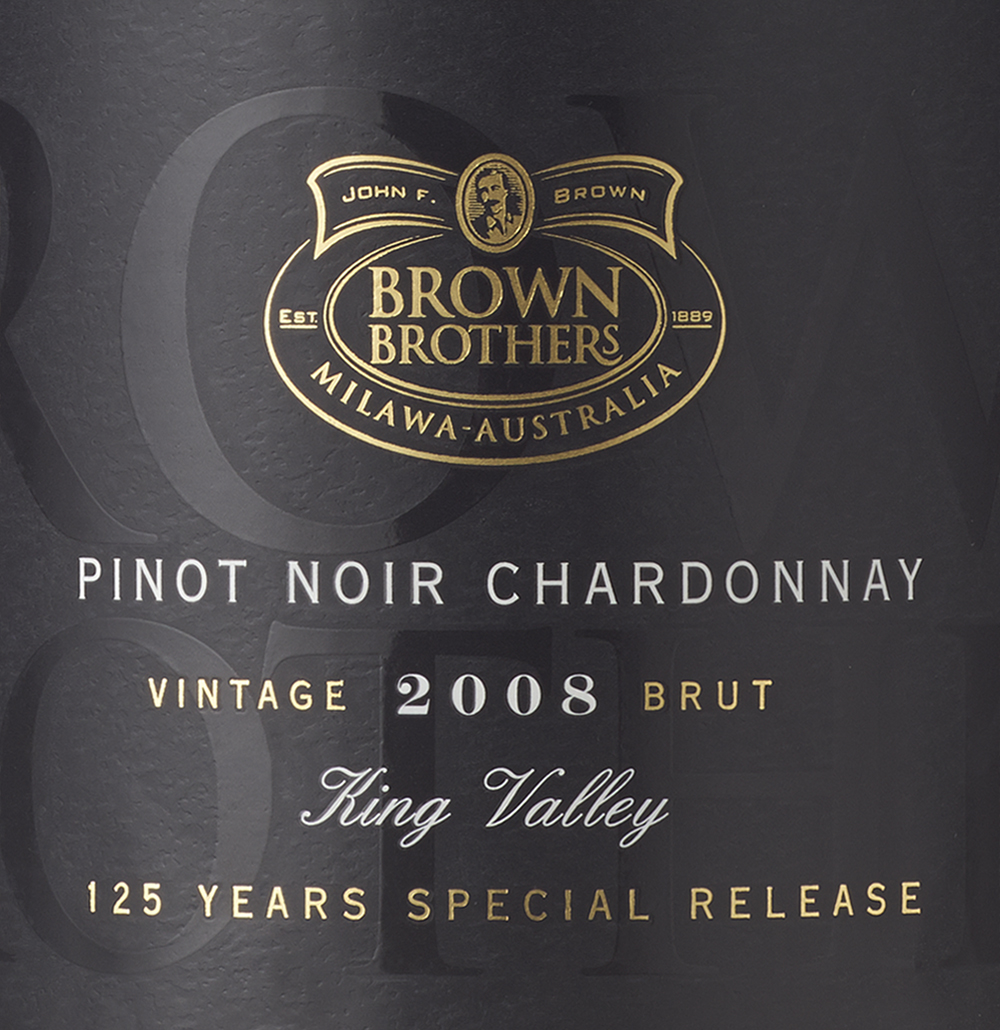 To mark the 125th anniversary of Brown Brothers a range of 4 wines were specially released to mark 4 generations of the Brown Family. The stacked Brown Brothers lettering from logo was enlarged to fill the wraparound label and printed in a spot gloss varnish to create a rich black-on-black background - a traditional yet modern backdrop to the classic typography and gold foil logo that are overlaid.