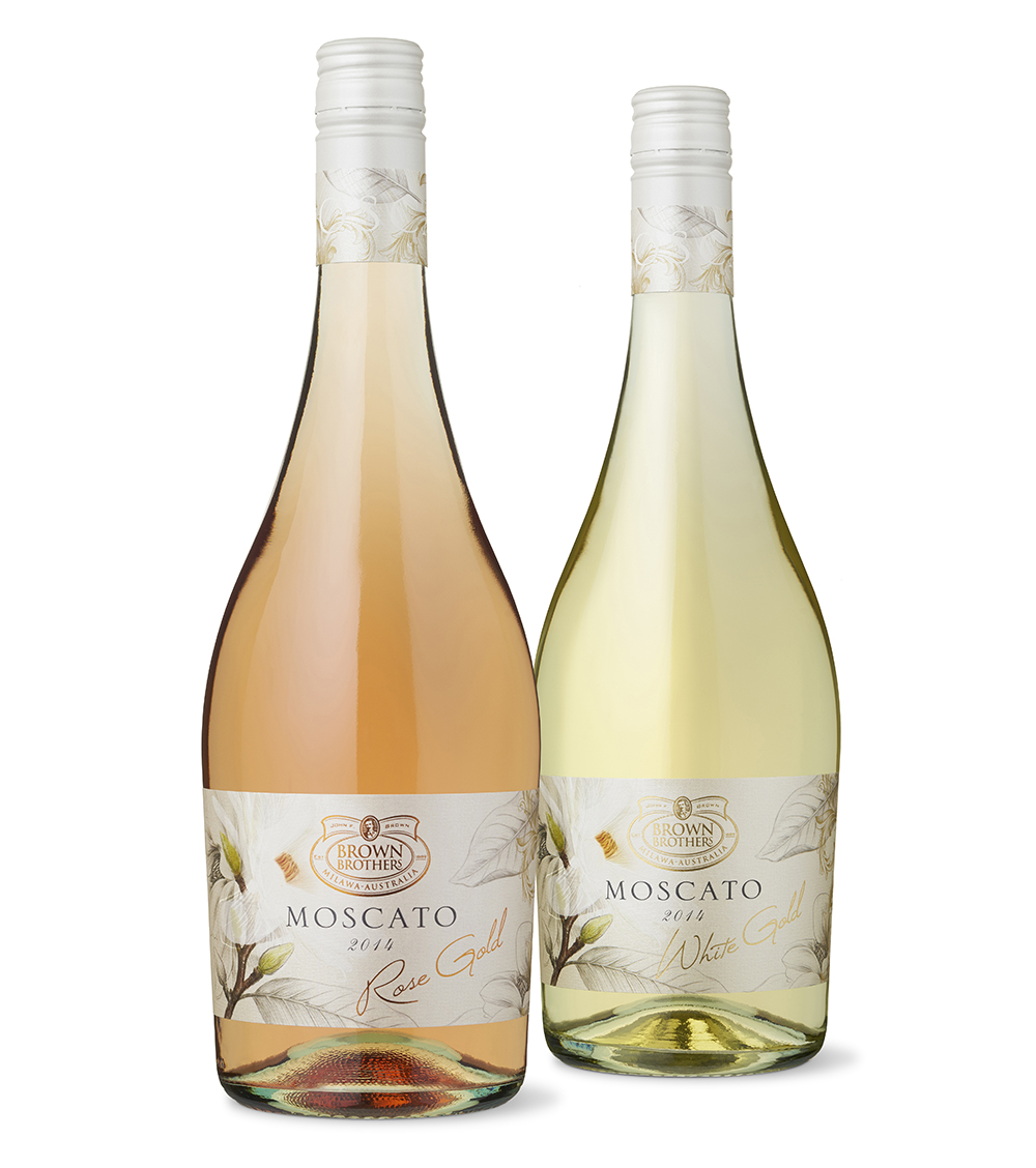 I worked with Katherine Brown from Brown Brothers to develop labels for the Moscato Gold range. The labels feature a combination of photography and illustration of magnolia flowers printed on textured pearlescent stock with a combination of finishes. Light, decorative and pretty it is designed to appeal to a female target market.