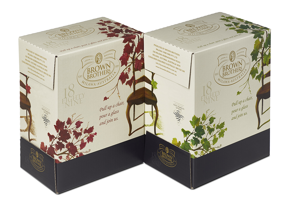 Cartons carry on the theme in a simplified two colourways for reds or whites.