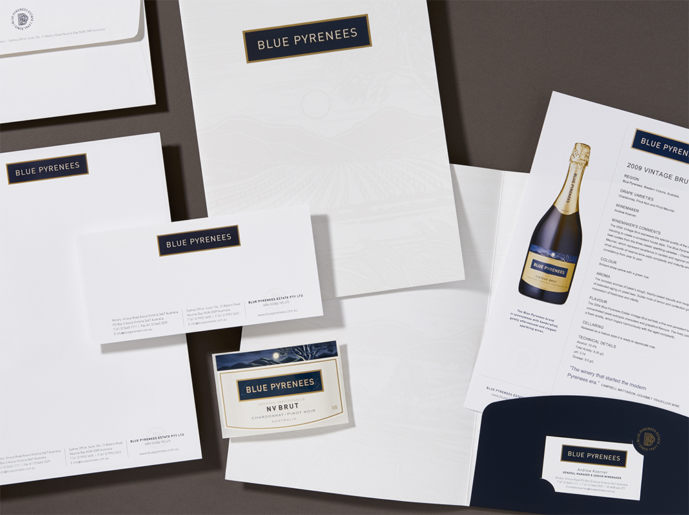 A complete range of business stationery including presentation folder with vineyard illustration printed in a subtle watermark effect was designed. Templates in Word were created to allow wine tasting note sheets to be updated by winery, in-house.