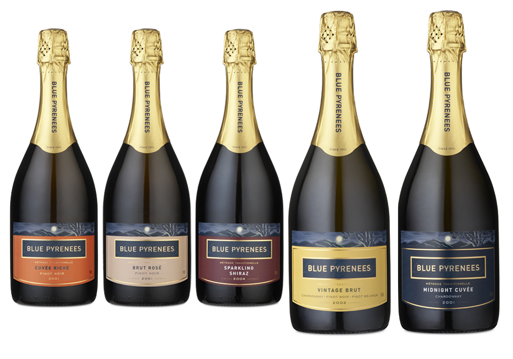The vineyard image was redrawn with flexibility and printing effects in mind. For example a narrow band of the illustration adds interest and texture on the sparkling range, while the full illustration creates a wraparound image on caps for table wines. The Yellow label on the Flagship Vintage Brut was retained and became the basis for a range of sparkling wines with colour coded labels.