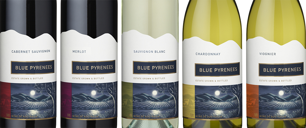 The Blue Pyrenees range of table wines feature the full illustration with linework and details embellished in raised gloss varnish. The client wanted interesting shaped labels, so the horizon line of hills in illustration was used to define the top edge of labels creating a distinctive, memorable silhouette.
