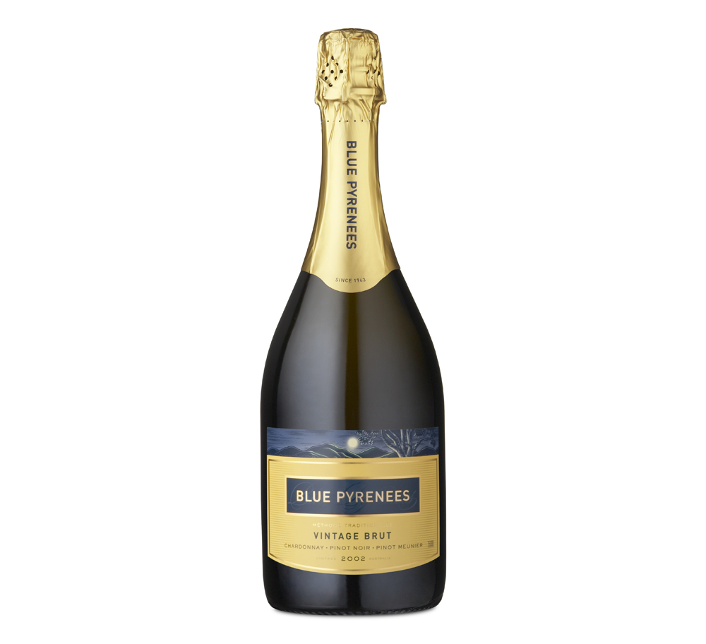 Blue Pyrenees needed a complete packaging refresh. It was decided to retain two key elements from the original packaging: an image of the hills and vineyard in the moonlight and a distinctive yellow for the label on their hero Vintage Brut.