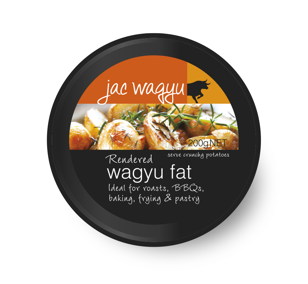 "Jac Wagyu raises premium quality wagyu on their family farm ""Clevecourt"" in Bingara NSW. A new identity and packaging for their rendered Wagyu Fat is the first step in a range of fresh meat cuts and value added products (sausages, burgers, etc) set to appear in Coles."