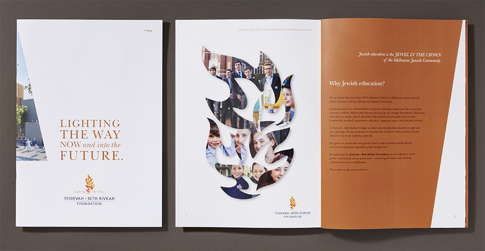 The flame shapes in the logo were used to create a montage of the various pre-school, primary and secondary colleges that make up the Yeshivah Centre.