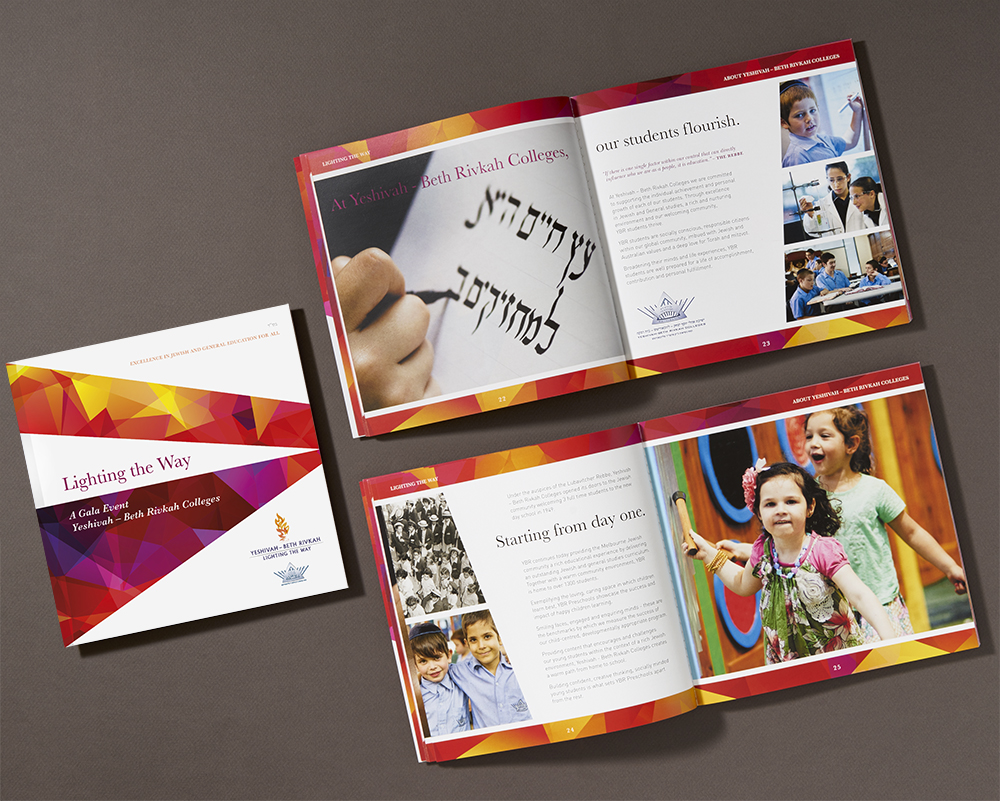 An A3 brochure was designed to introduce the fundraising imitative and outline the various planned projects, prior to the event. Angled photographs and architectural renderings and extensive use of white on the large pages are impactful. Use of a rich copper colour complements the logo.