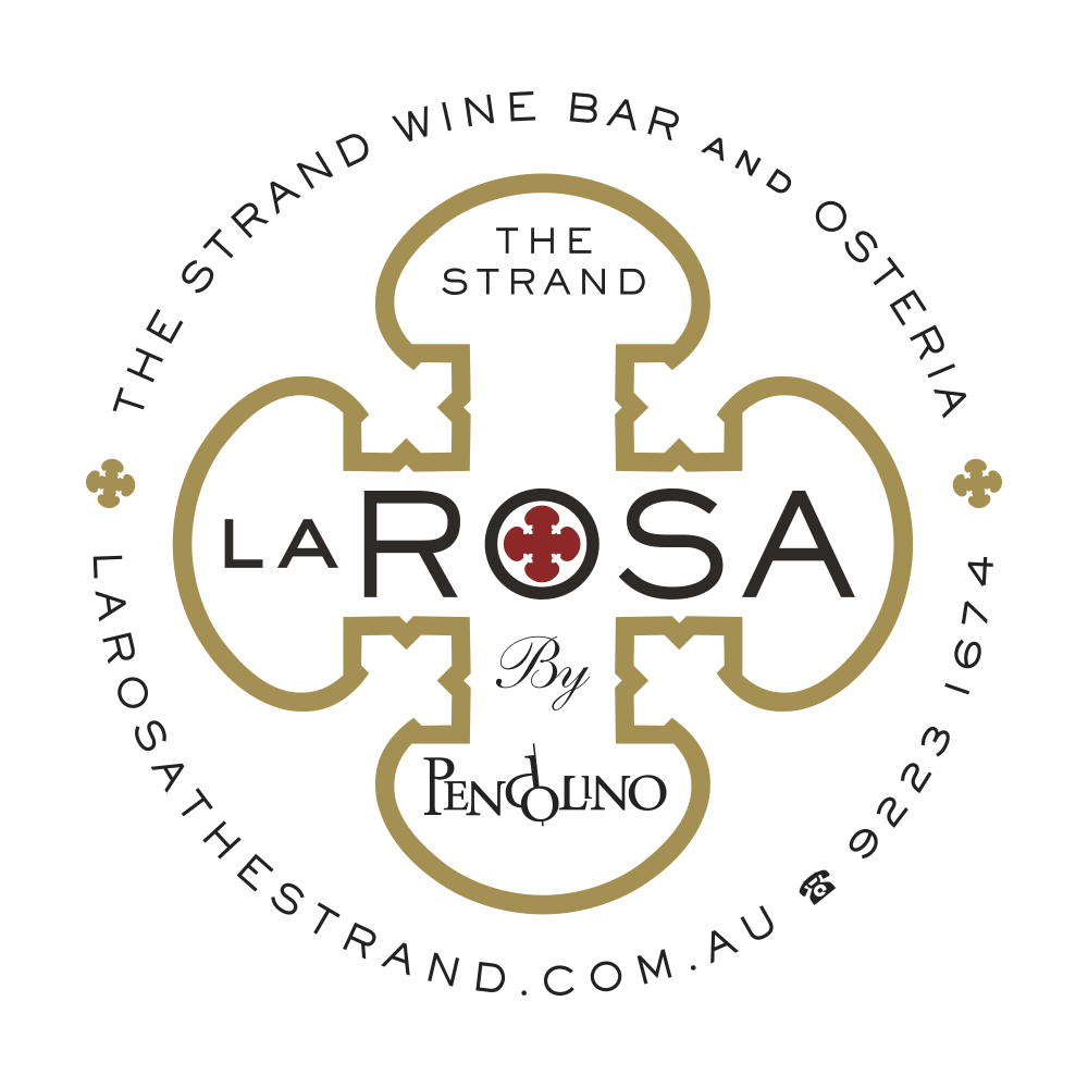 La Rosa Wine Bar and Osteria in the Strand Arcade is the sister to The Restaurant Pendolino, both owned by Nino Zoccali. Nino wanted a logo inspired by the  moody interior with a sacred art feel. The decorative fabricated metal screens in the interior provided the perfect shape and with a simple colour palette of black, red and gold two logos were developed. A decorative roundel above expands the religious theme and an elegant typographic treatment below is the more simplified form.