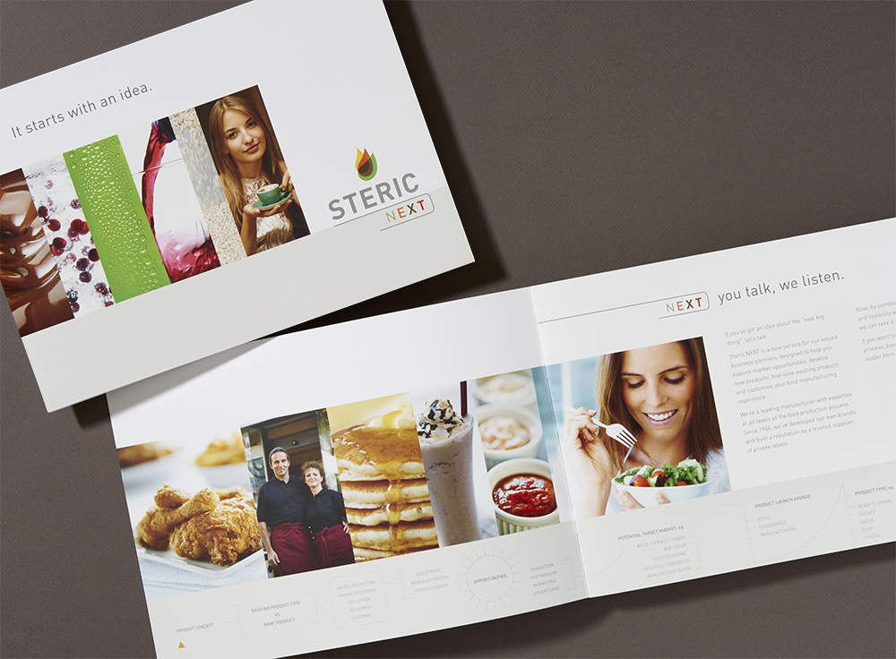 Steric Next is the customised new product development service that Steric can provide to customers who want to create their own lines of sports drinks, marinades, dressings, etc. The logo is a variation of the company logo and the brochure takes would-be clients on a step by step journey through the stages required to bring a new product to market and the capabilities of Steric to assist.