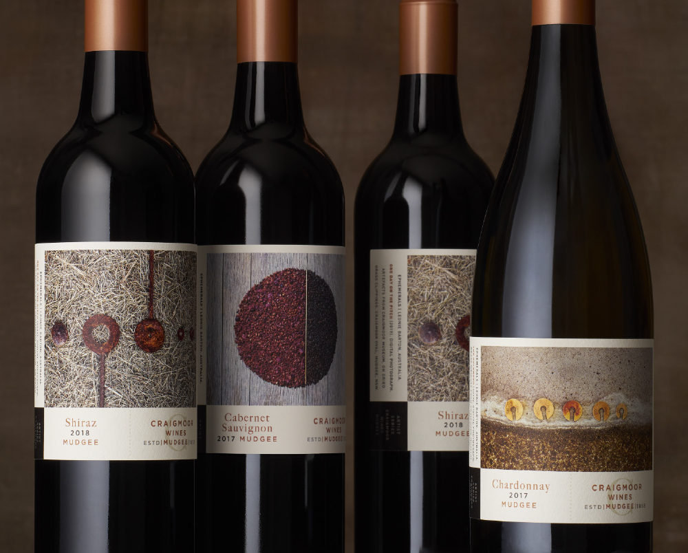 "A top tier premium range from Craigmoor allowed for a more in-depth expression of Craigmoor in the local area. The client embraced the concept of allowing leading Australian artist Leonie Barton, to create a series of works in her ""emphemerals"" style in response to the vineyards and Craigmoor location. The labels are designed as a series of ""works"" with artist citation. Each label features a unique, abstract, intriguing image that establishes a sophisticated sense of place for Craigmoor Wines in Mudgee."