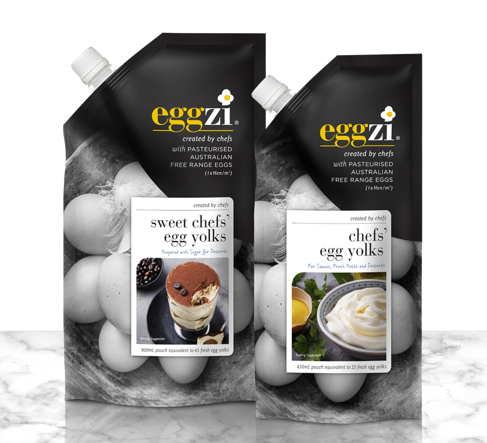 Designed by chefs for restaurants, bars and gourmet cooks, Eggzi pasteurised eggs are a new product concept supplying free range pasteurised eggs in a convenient pouch format. Branding for Eggzi includes a graphic egg in the shape of an chef's hat as the dot on the i.